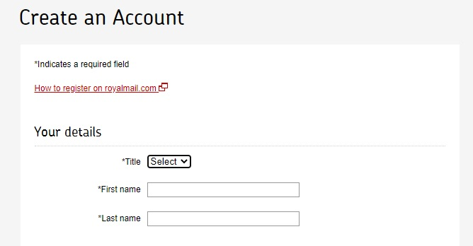 Royal Mail - Create an Account