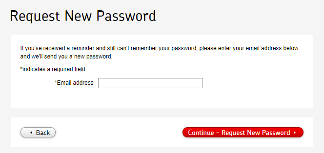 Royal Mail - Request New Password